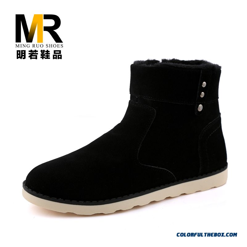 Special Offer Men Snow Boots Short Black Warm Free Shipping