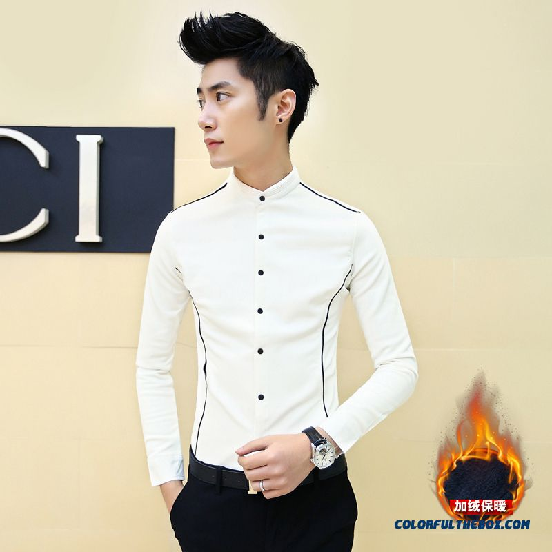 Special Offer Men Warm White Casual Slim Plus Velvet Long-sleeved Shirt Printing