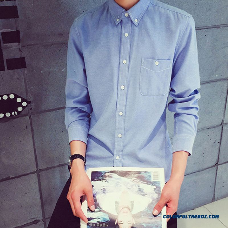 Special Offer Men's Business Casual Long-sleeved Shirt Slim Solid Color