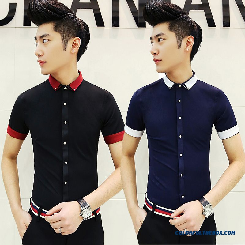 Special Offer Men's Short-sleeved Shirt Slim Solid Color Business Casual Summer Top Quality