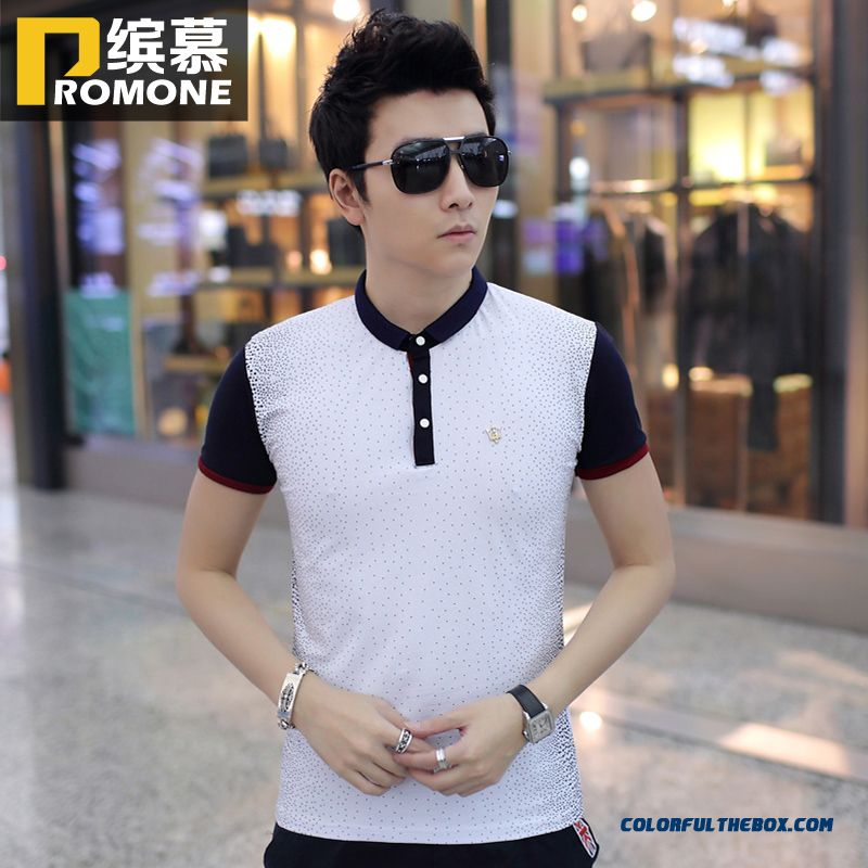 Special Offer Men's Short-sleeved Tees Slim Lapel Hot Selling