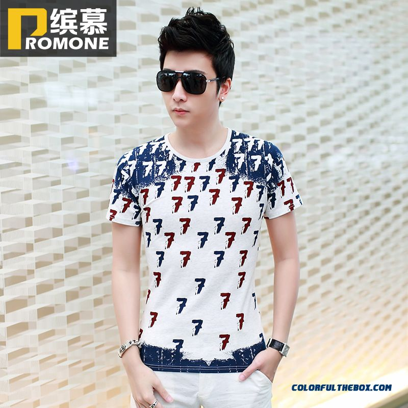 Special Offer New Men's Short-sleeved Tees Slim Crew Neck Printing