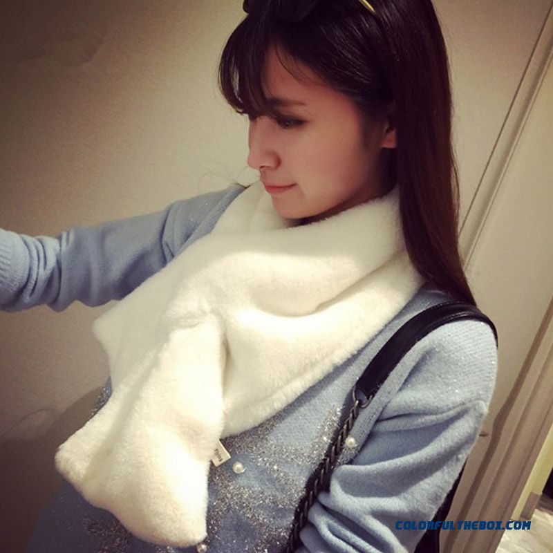 Special Offer Newest Solid Color Wool Soft Scarf Faux Rabbit Fur Thickening Women's Scarf