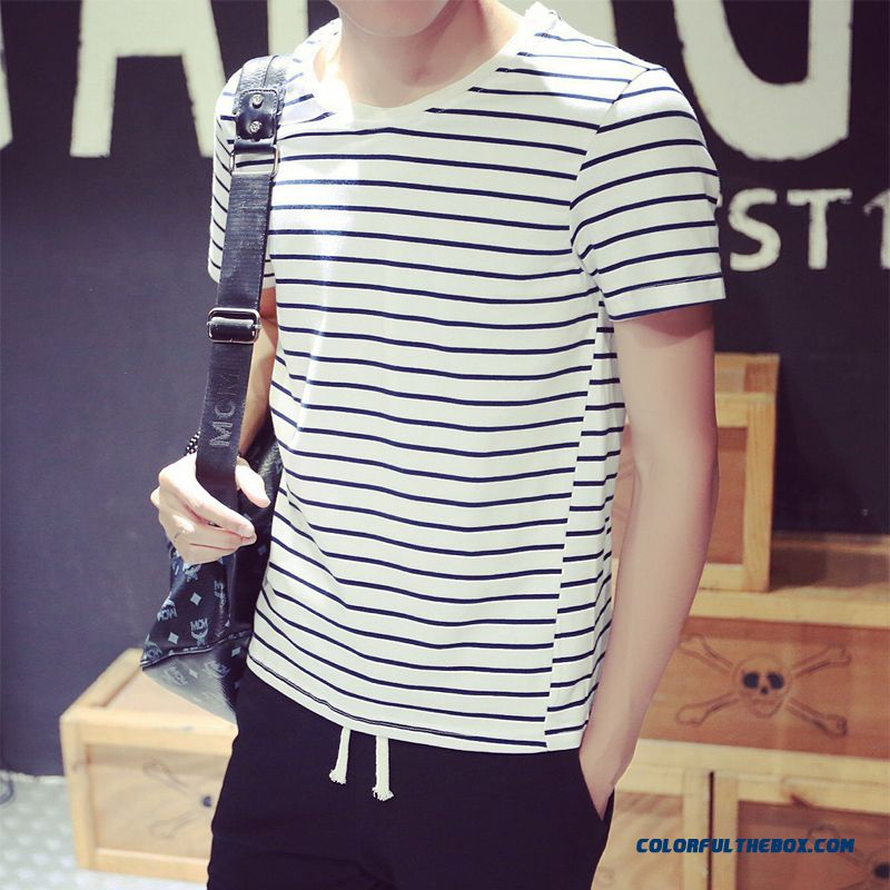 Special Offer Summer Men's Short-sleeved Striped Tees Fashion