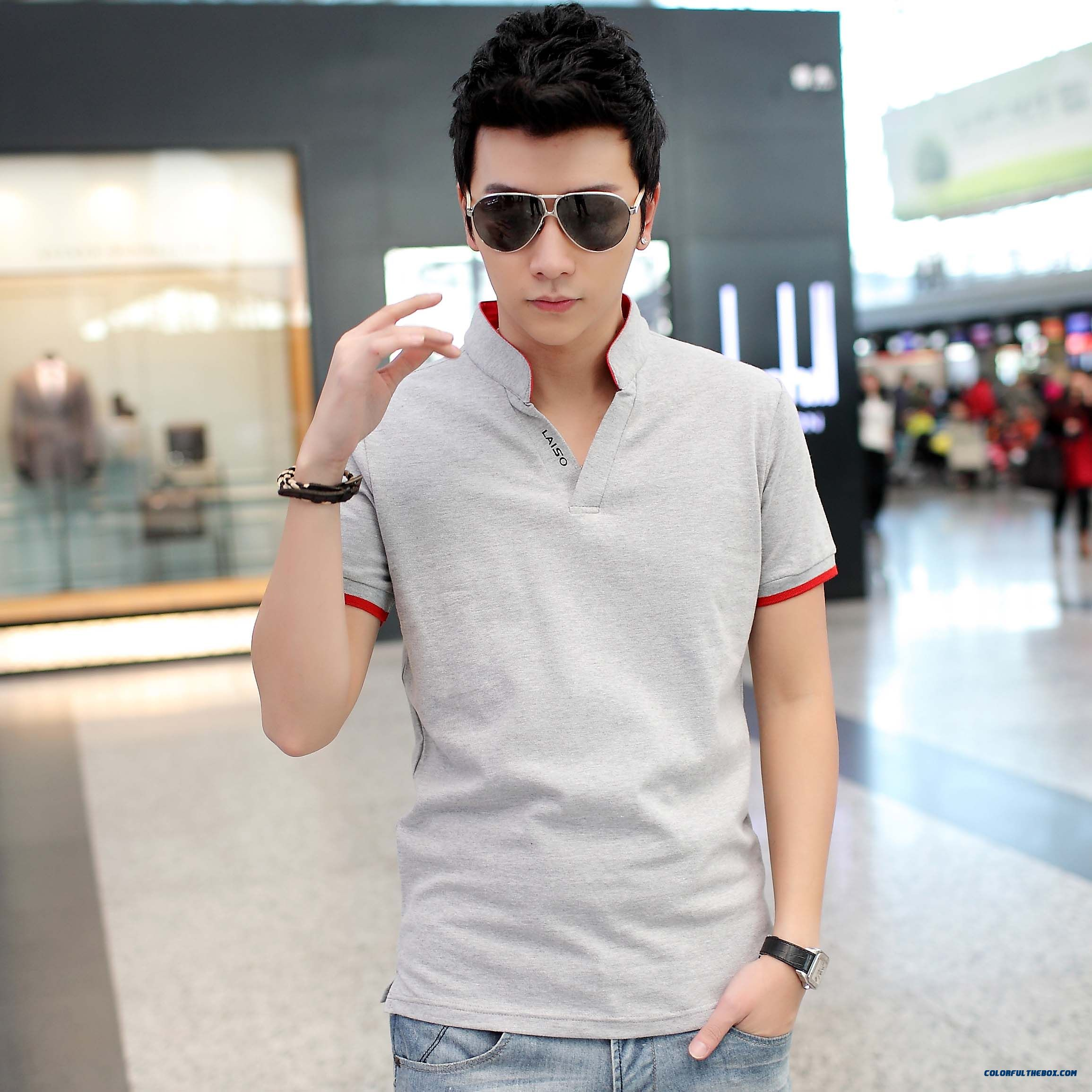 Special Offer Summer Stand Collar Men Fertilizer Increase Code Slim Tees Short-sleeved