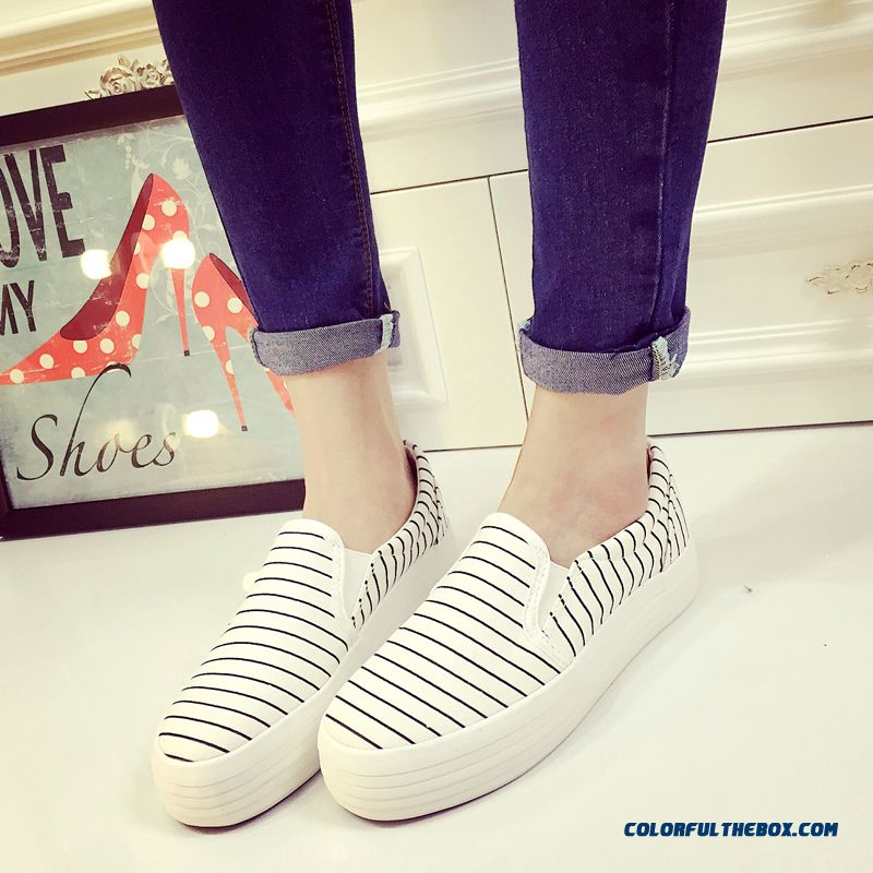 Special Offer Vogue Flat Thick Bottom Canvas Striped Casual Women Shoes - more images 1