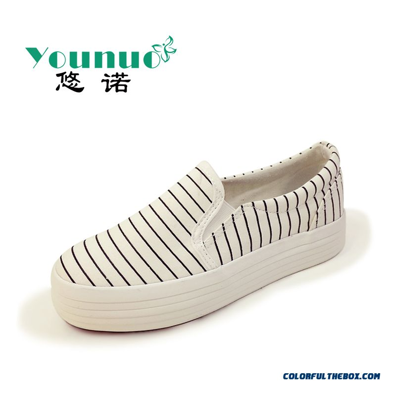 Special Offer Vogue Flat Thick Bottom Canvas Striped Casual Women Shoes - more images 2