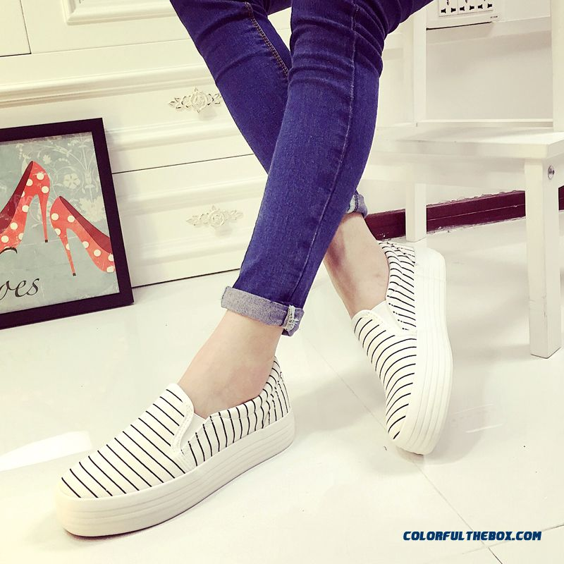 Special Offer Vogue Flat Thick Bottom Canvas Striped Casual Women Shoes - more images 3