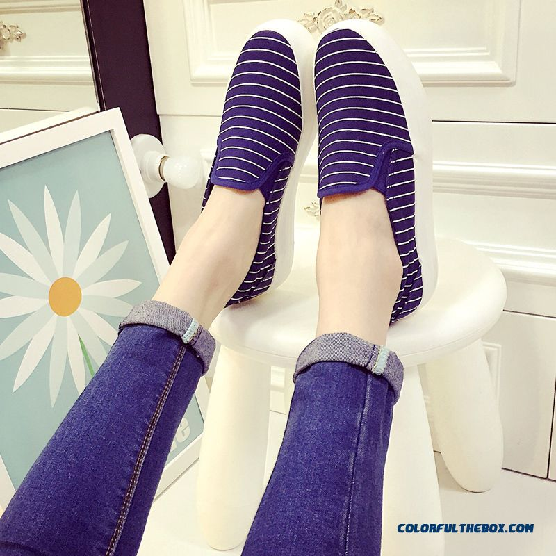 Special Offer Vogue Flat Thick Bottom Canvas Striped Casual Women Shoes - more images 4
