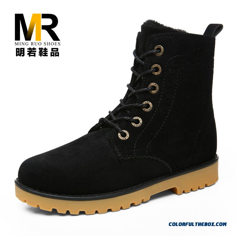 Special Offer Winter Short Laced Black Men Boots Comfortable Shoes