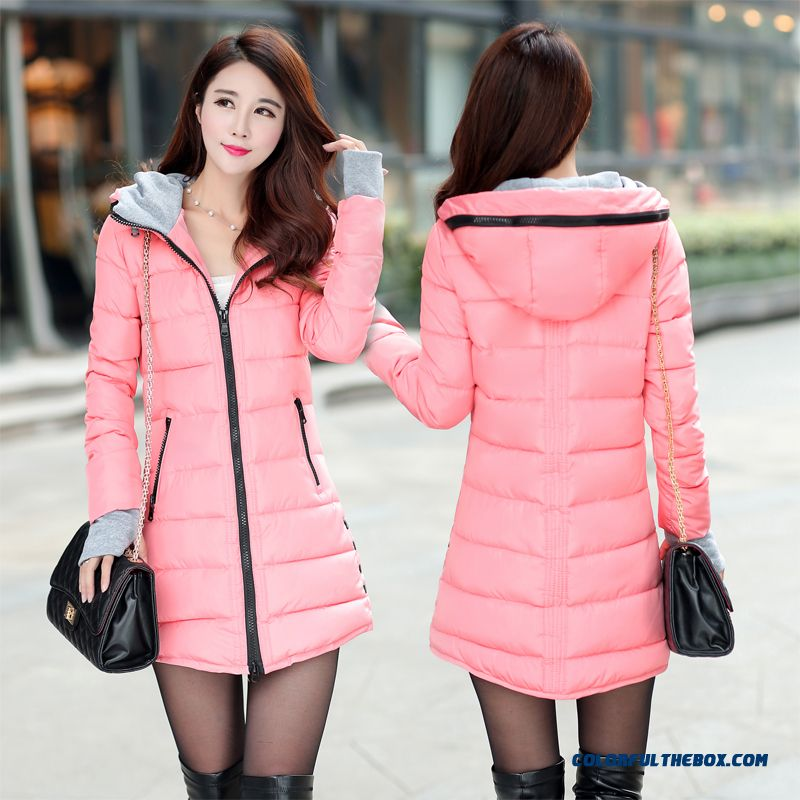 Special Offer Women's Hooded Coat 2015 Winter New Loose Medium Length Red