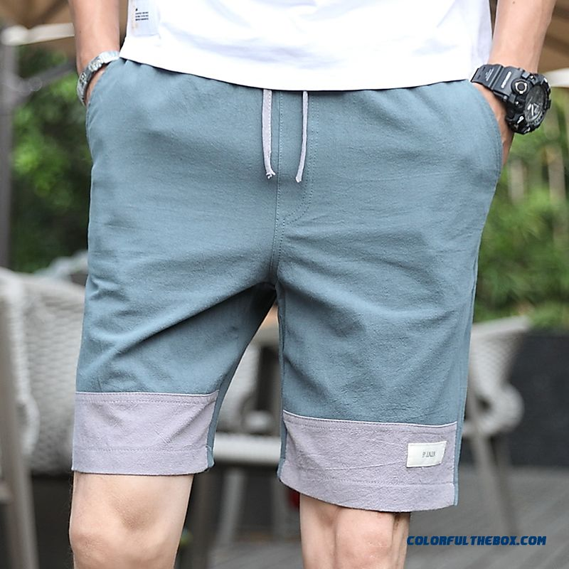 Splicing Shorts Summer Cotton Men's Pants Green Beach Short Pants Breathable 2019 Leisure