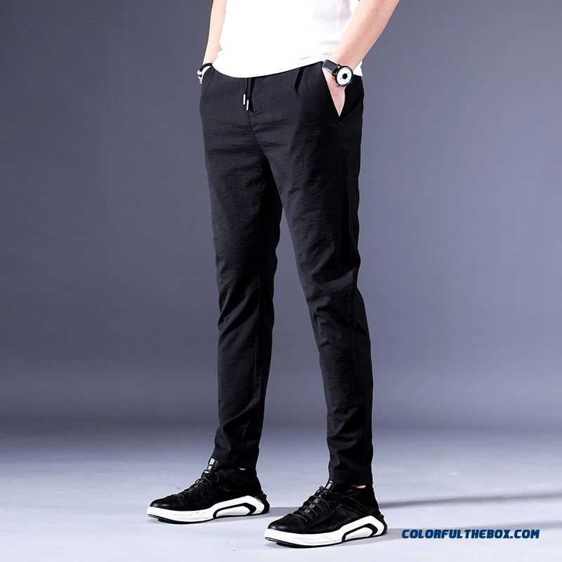 Sport Leisure Comfortable Black Pants Youth Men's Summer Slim Skinny Breathable Trousers