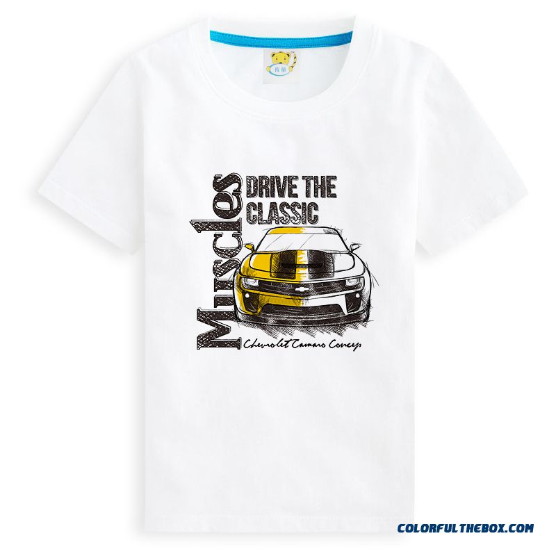 Sports Car Models Crew Neck Cotton Blouses Kids Clothes Boys Summmer Short-sleeved T-shirt