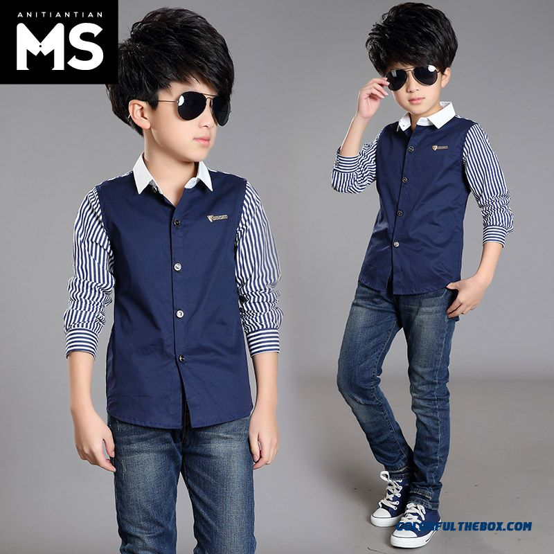 Spring And Autumn 2016 New Long-sleeved Shirt 10-12-13-15-year-old Boy Kids - more images 1