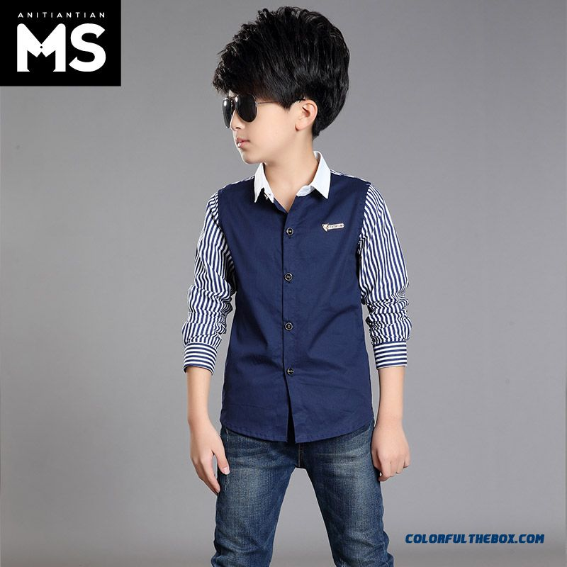 Spring And Autumn 2016 New Long-sleeved Shirt 10-12-13-15-year-old Boy Kids - more images 3