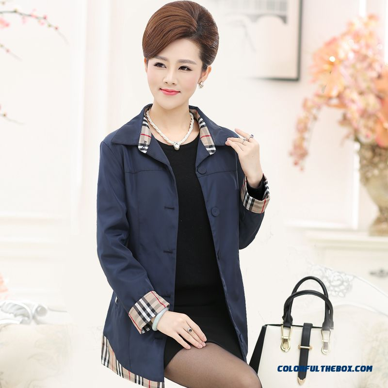 Spring And Autumn Casual Long-sleeved Jacket Middle Age Women Windbreaker