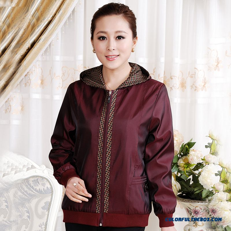 Spring And Autumn Mother Women Clothing Elderly Tops Hooded Jackets