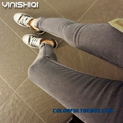 Spring And Autumn New Women Pants Leggings Tight Dark Gray Denim Pants Tide Large Size