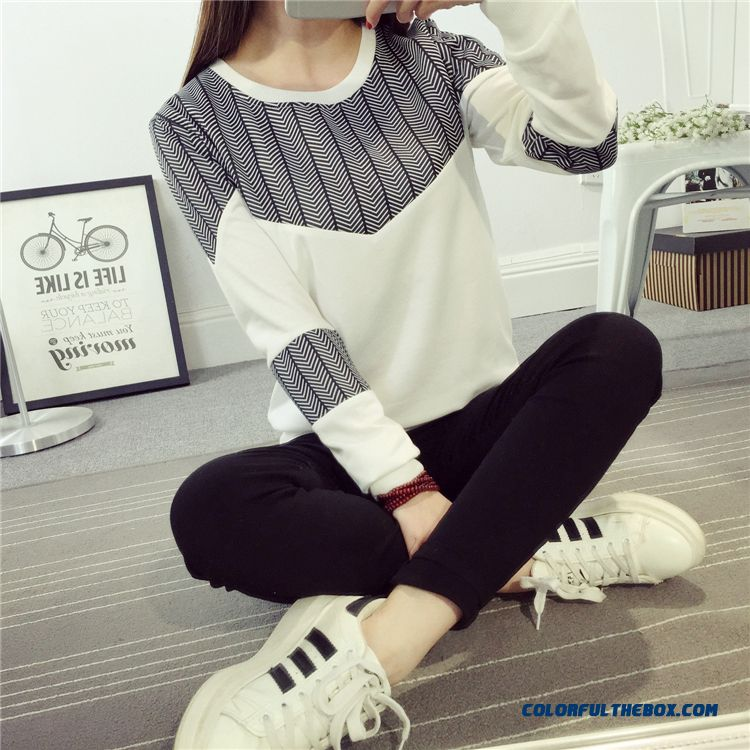 Spring And Autumn Women Long-sleeved T-shirt Blouses Plus Size Loose All-match Crew Neck Bottoming Shirt