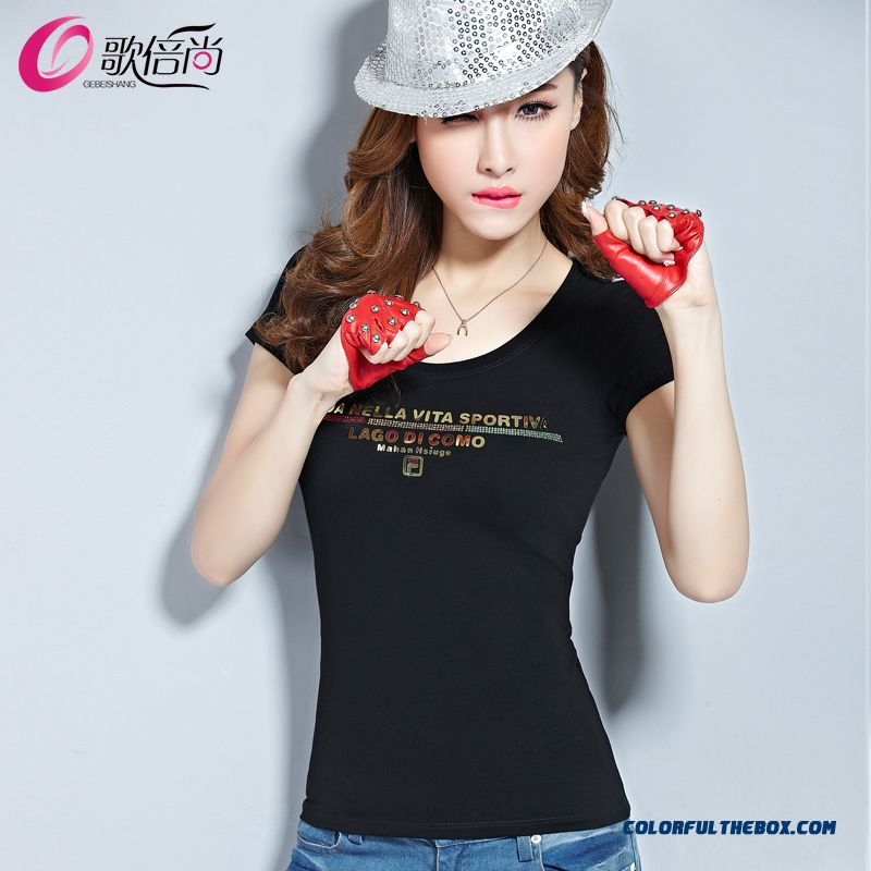 Spring And Summer Large Size Women Models Crew Neck Cotton T-shirt Slim Sequined Letters