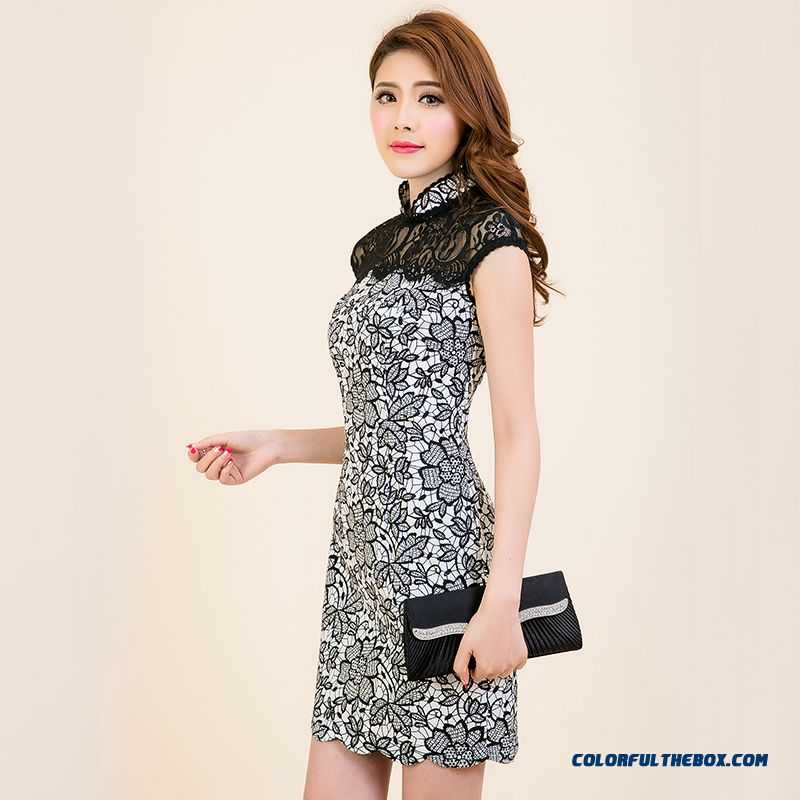 Spring And Summer New Retro Stitching Lace Improved Cheongsam Women Dresses Limited Time Special