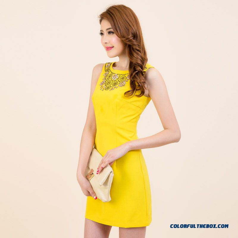 Spring And Summer New Slim Diamond Sleeveless Dress Sleeveless Vest Blue Pink Yellow Special Offer For Women