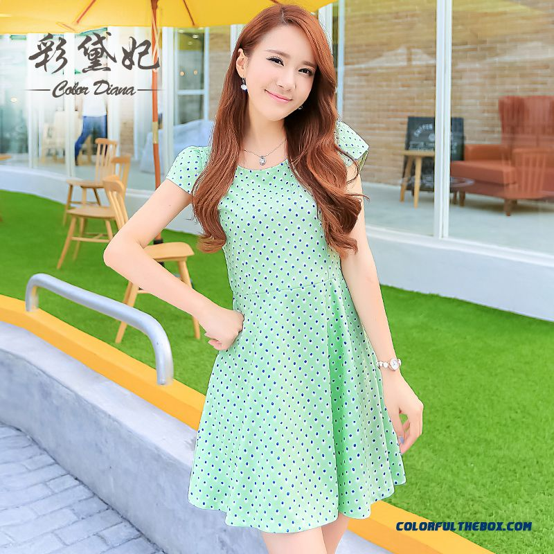 Spring And Summer Women's New Large Size Slim Thin Fresh Short Short-sleeved Dress Tide