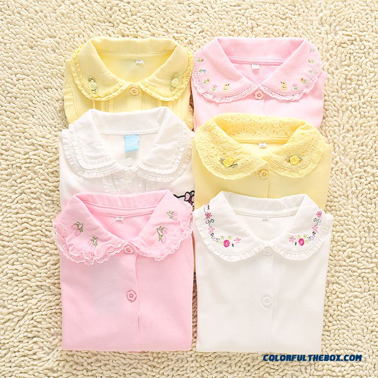 Spring & Autumn Girls White Shirt Long-sleeved Tong Embroidery Lace Lapel Baby Kids Bottoming Shirt