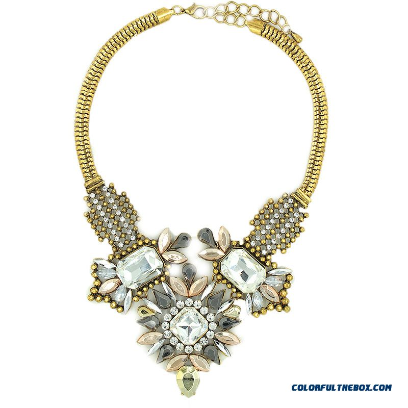 Spring Design For Women Retro Glass Necklace Alloy Jewelry - more images 1