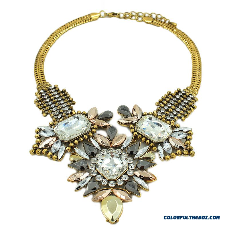 Spring Design For Women Retro Glass Necklace Alloy Jewelry - more images 4