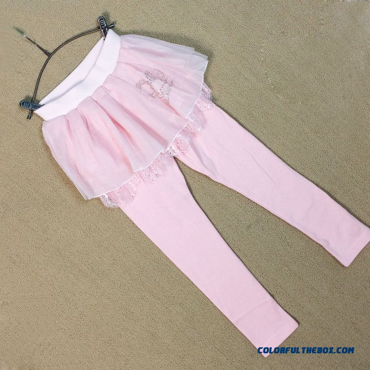 Spring Fake Two-piece Of Culottes Children Kids Long Pants For Girls Pink