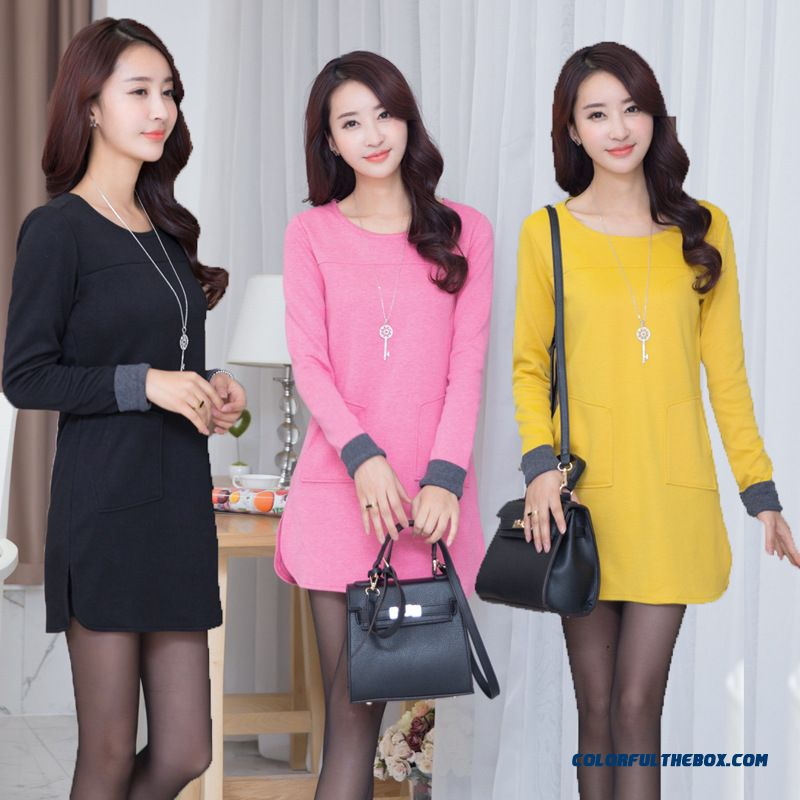 Spring Korean Version Of Medium-long Women Long-sleeved T-shirt Knit Blouses Pull Floor Price