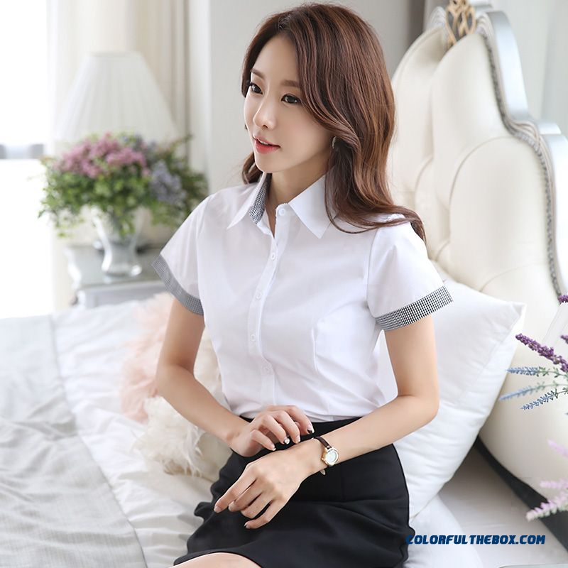 Spring Lady Design Europe Leisure Student Summer 2019 White Short Sleeve Shirt Temperament Slim