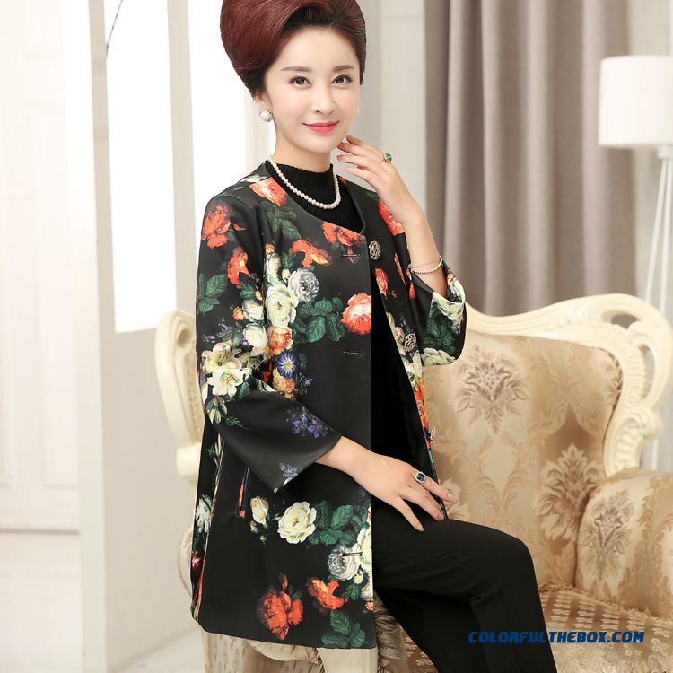 Spring Long-sleeved Cardigan Jacket Mother Dclothing Plus Velvet Winter Coats Colorful Coat In The Elderly