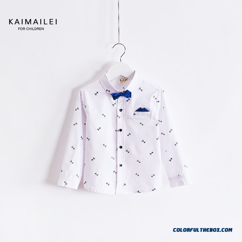 Spring Models Kids Boys Long-sleeved Shirt Cotton Floral Blouses Gentleman Performing Service Fashionable