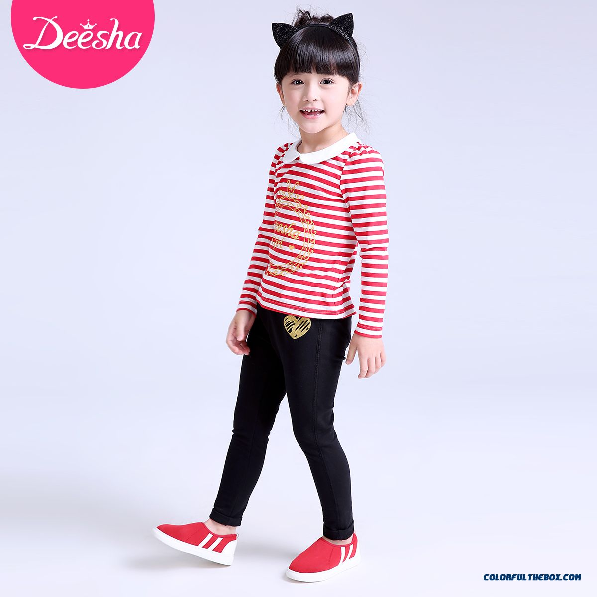 Spring Models Love Stamp Long Pants Pants Thin Kids Clothing For Girls - more images 2