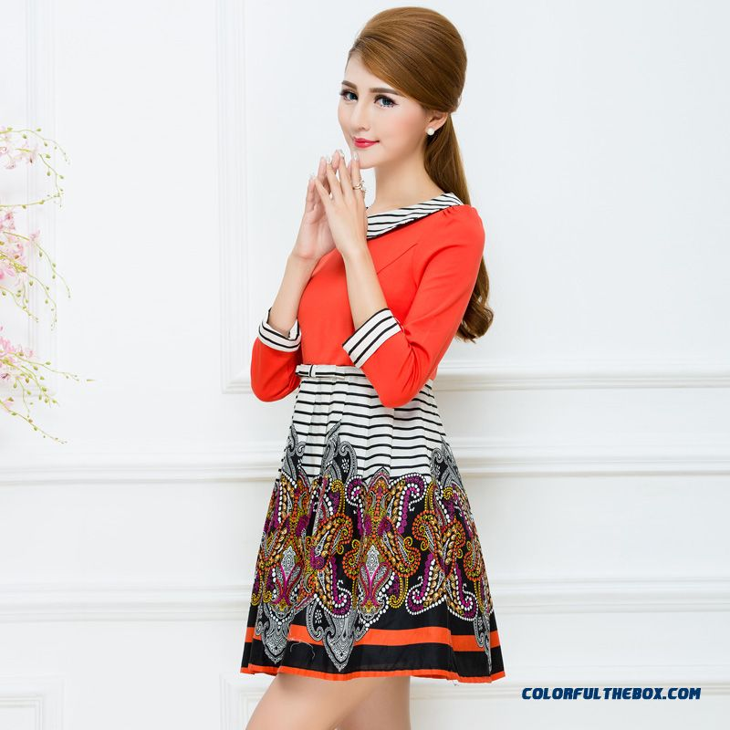 Spring New Doll Collar Three Quarter Sleeve Dress Women Striped Stitching Chic Design