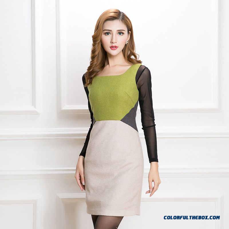 Spring New Hit Color Stitching Ladies Fashion Sleeveless Dress Women Clothing
