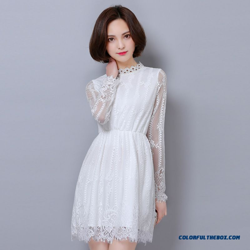 Spring New Openwork Lace Long-sleeved Women Dress Korean Fashion Thin Solid Color Dress