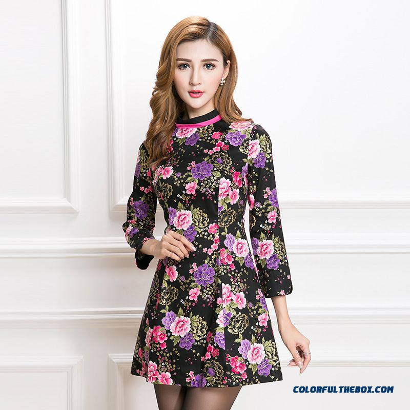 Spring New Printing Slim Crew Neck Nine Points Sleeve Improved Cheongsam Dress Women