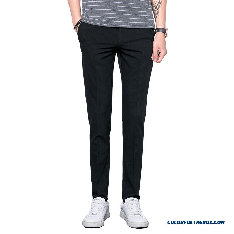 Spring Straight Pants Europe Leisure Black Trend Men's Slim Summer All-match