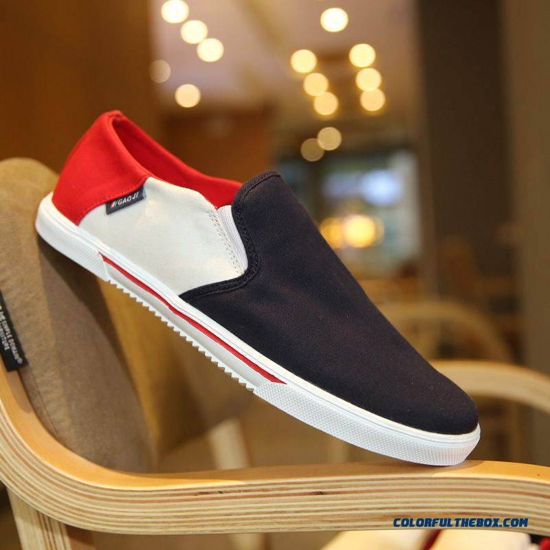 Spring Summer Autumn Canvas Shoes Men Low Cut Flats Shoes Without Shoelace Skateboarding Shoes