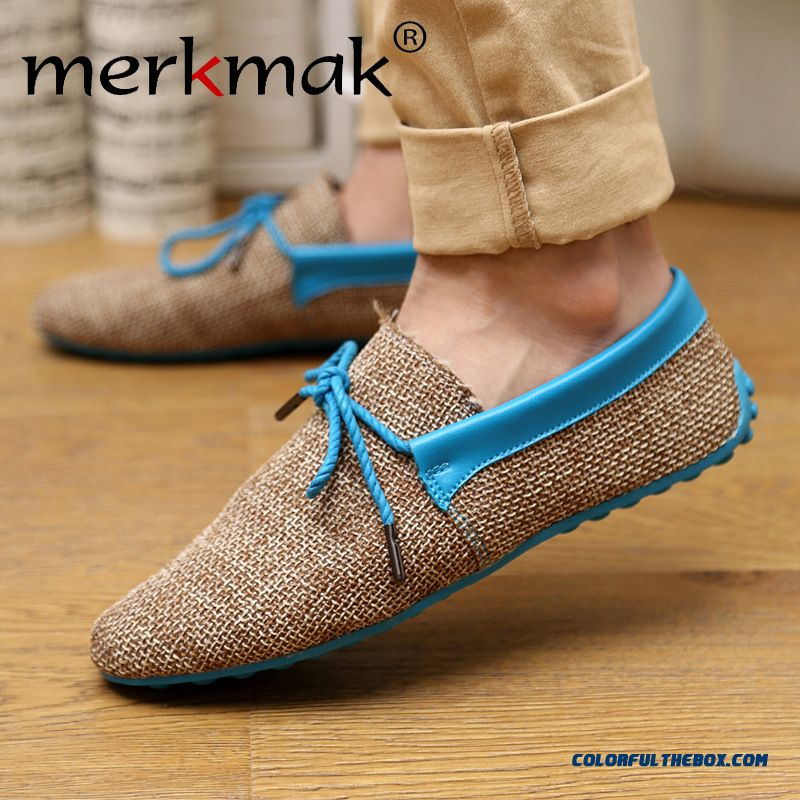 Spring Summer Breathable Fashion Weaving Woven Men Casual Flat Shoes Lace-up Loafers Comfortable Men Shoes