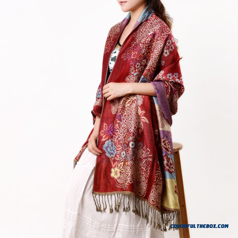 Spring & Summer Popular Seasons Folk-custom Printing Oversized Air Conditioning Women Shawl Sunscreen Scarves