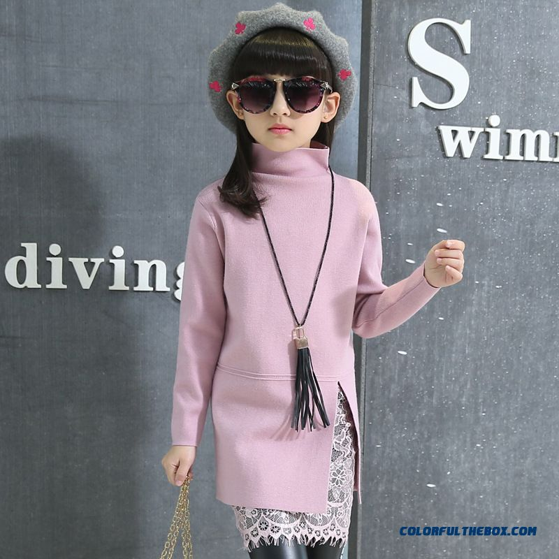 525cd61031 Spring Thick Sweater Dress Big Kids Lace Medium-long All-match Package Hip  Bottoming