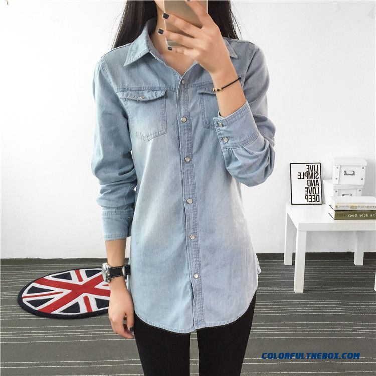 Spring Women New Thin Denim Shirt Lady Loose Medium-long Blouses With Belt