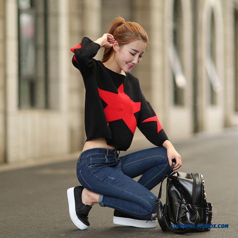 Star Design Women Sweater Round Neck Loose Pull Blouson Bottoming Shirt Sweater Coat Red Black