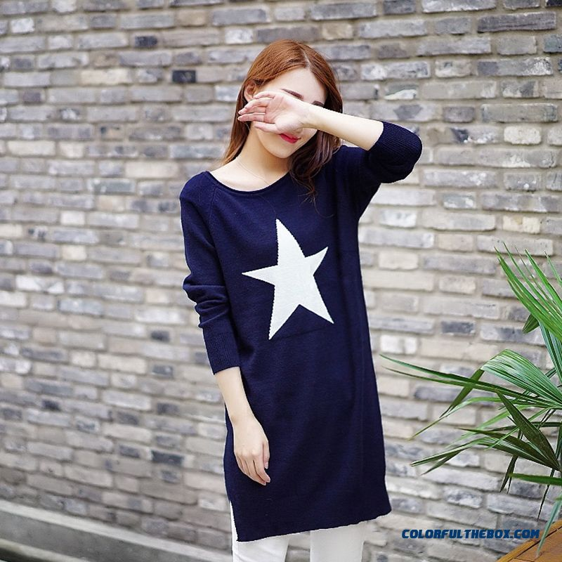 Star Pattern Women Sweater Round Neck Loose Pull Blouson Bottoming Shirt Sweater Coat Blue Black Red Grey