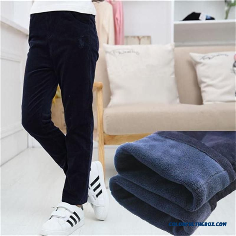 Straight Bilayer Kids Plus Velvet Corduroy Pants Girls Pants Add Lining